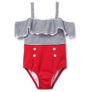 Striped colorblock swimsuit